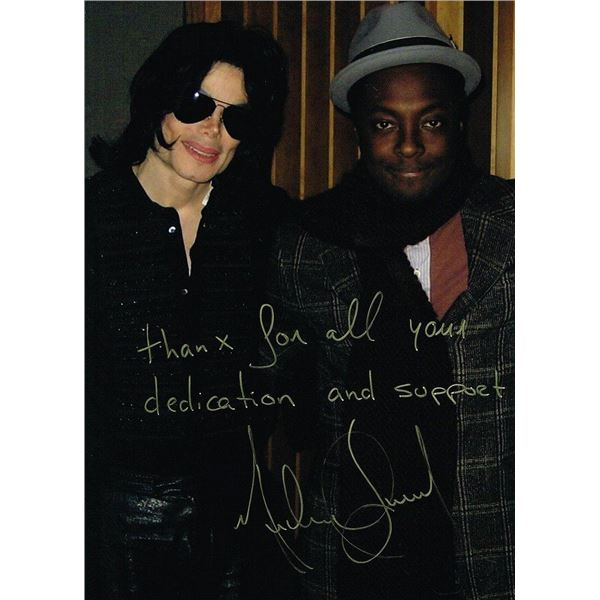 MICHAEL JACKSON INSCRIBED SIGNED PHOTO WITH WILL I AM.