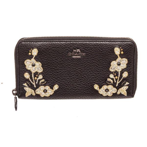 Coach Black Leather Floral Accordian Zippy Wallet