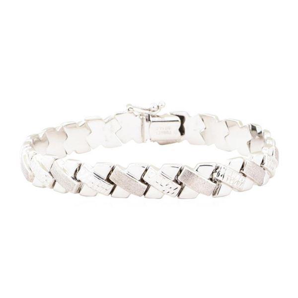 "Textured ""X"" Motif Bracelet - 14KT White Gold"