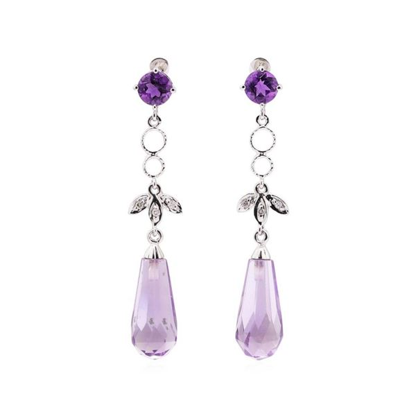 4.65 ctw Amethyst and White Sapphire Earrings - 10KT White Gold