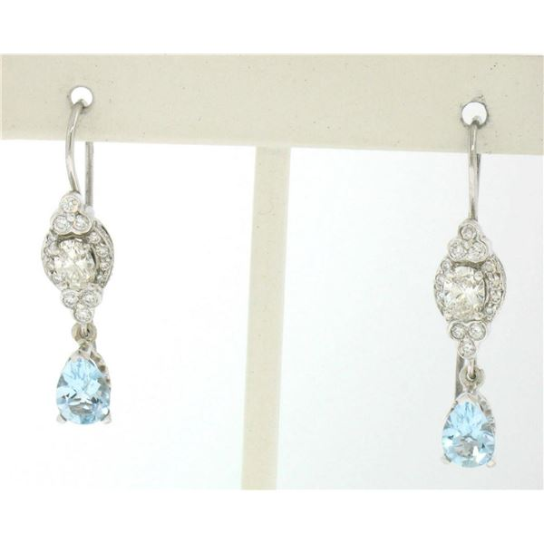 18K Solid White Gold Dangle Drop Earrings w/ an Oval Diamond & Pear Aquamarine