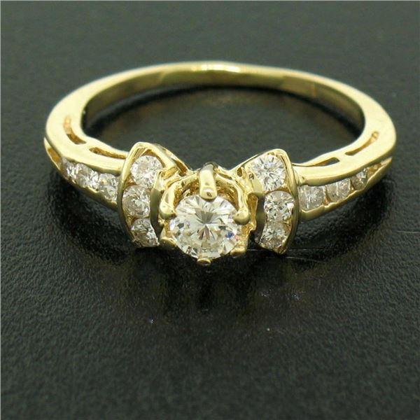 14k Yellow Gold Petite 0.42 ctw Round Diamond Engagement Ring w/ Channel Accents