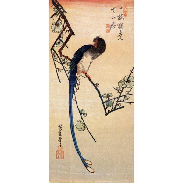 Hiroshige Blue Bird on a Plum Tree