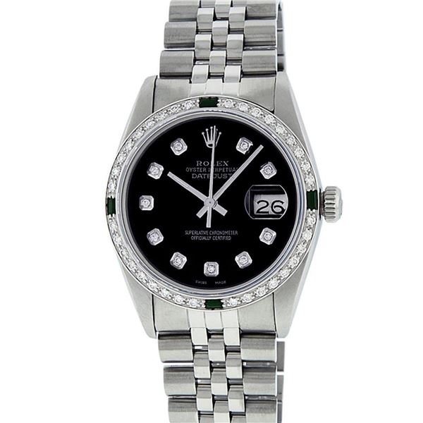 Rolex Mens Stainless Steel Black Diamond & Emerald Oyster Perpetual Datejust Wri