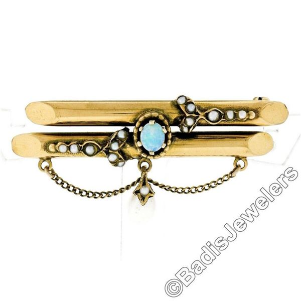 Victorian 14kt Gold Opal, Seed Pearl, & Natural Pearl Dangle Dual Bar Brooch