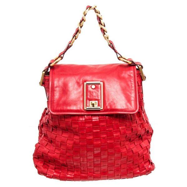 Marc Jacobs Red Leather Woven Hobo Shoulder Bag