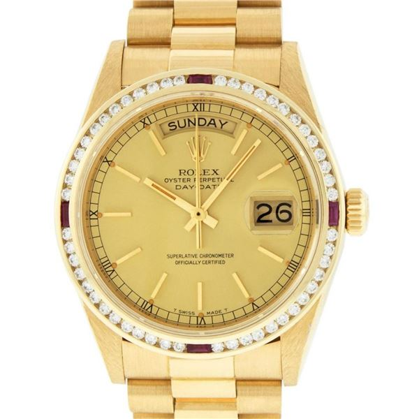 Rolex Mens 18K Yellow Gold Champagne Index & Ruby Quickset President Wristwatch