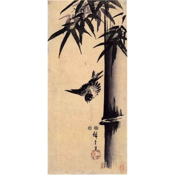 Hiroshige Sparrow and Bamboo 2