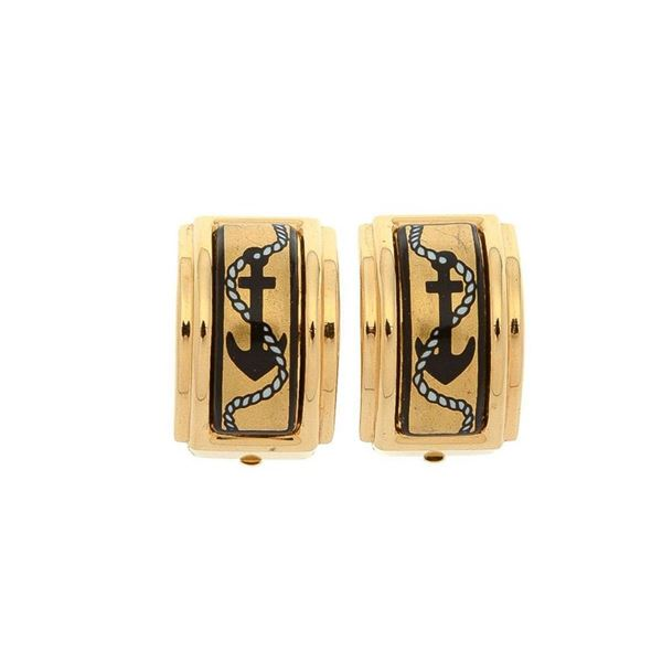 Hermes Gold Enamel Clip-on Earrings