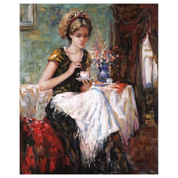 "Igor Semeko, ""Cue of Tea"" Hand Signed Limited Edition Giclee on Canvas with Lett"