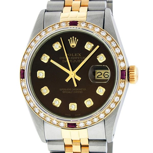 Rolex Mens 2 Tone Brown Diamond & Ruby 36MM Datejust Wristwatch