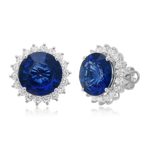 18k Gold 11.75CTW Blue Sapphire Earrings, (SI1/F-G/Treated Blue)