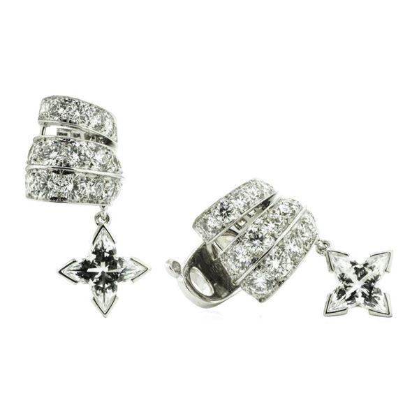 2.27 ctw Princess Cut Diamond And Round Brilliant Cut Diamond Ear Cuff - 18KT Wh