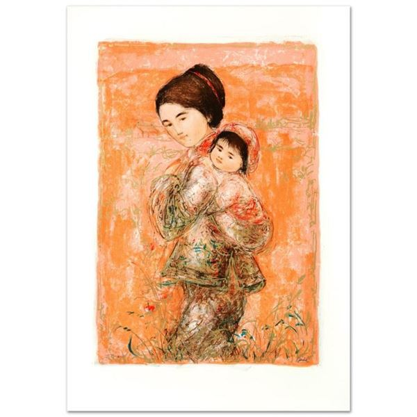 """""""Morning Stroll"""" Limited Edition Lithograph by Edna Hibel (1917-2014), Numbered"""
