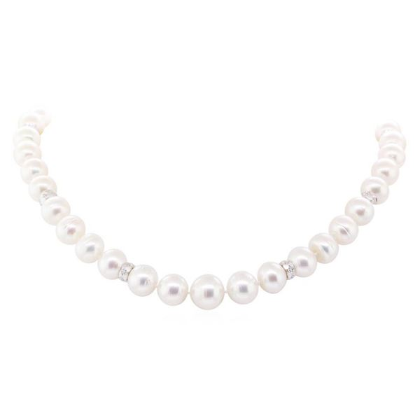 0.78 ctw Diamond and South Sea Pearl Necklace - 14KT White Gold