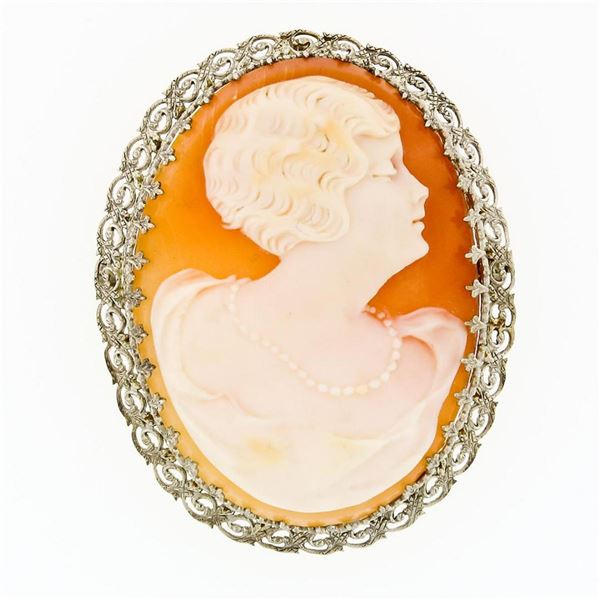 Fancy Vintage 14K Gold Carved Shell Cameo Etched Floral Filigree Brooch Pendant