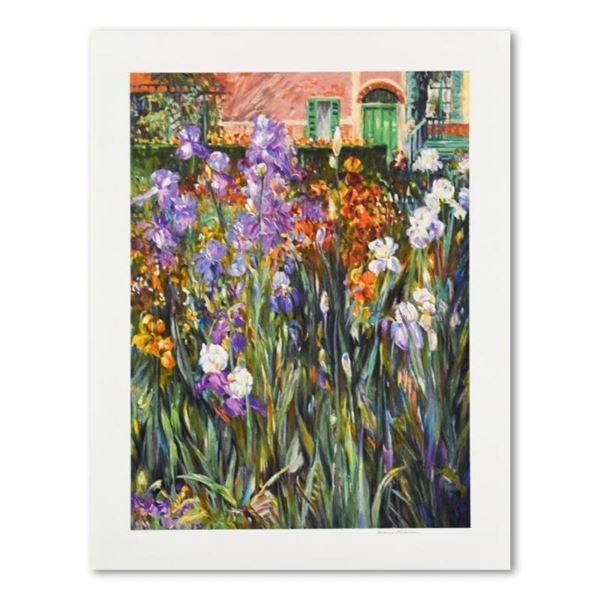 "Henri Plisson, ""Garden at Giverny"" Limited Edition Serigraph, Numbered and Hand"
