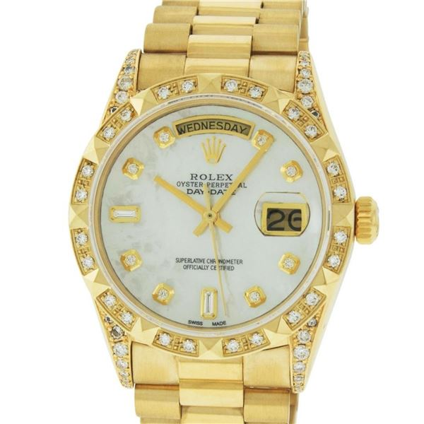 Rolex Mens 18K Yellow MOP Diamond Lugs President Wristwatch With Rolex Box & App