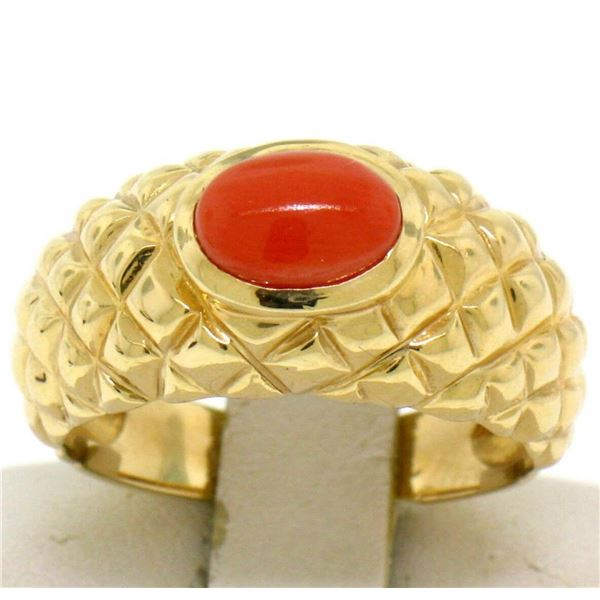 14k Yellow Gold Oval Cabochon Bezel Set Coral Domed Quilted Texture Ring
