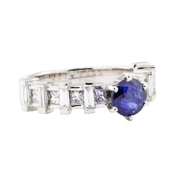 2.20 ctw Sapphire And Diamond Ring - 18KT White Gold