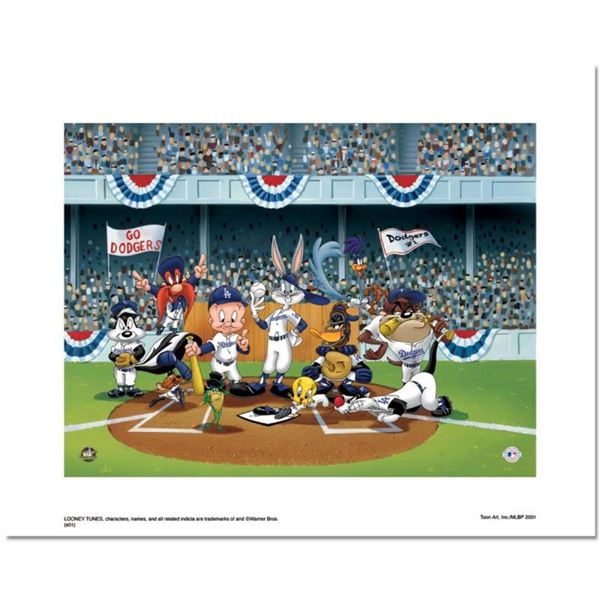 """""""Line Up At The Plate (Dodgers)"""" is a Limited Edition Giclee from Warner Brother"""
