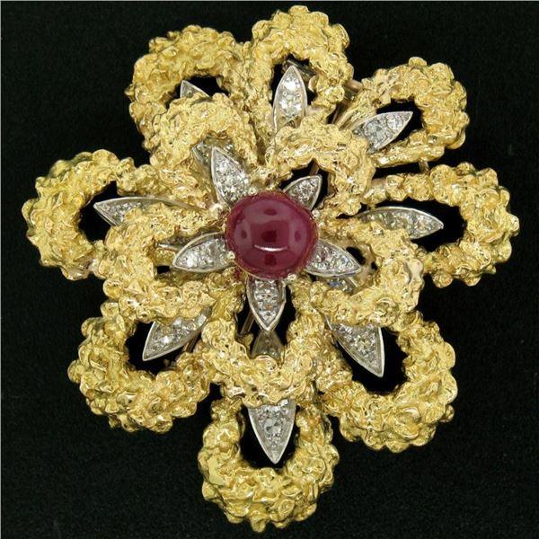 Vintage French 18K TT Gold 4.27 ctw Diamonds & Ruby Textured Flower Burst Brooch