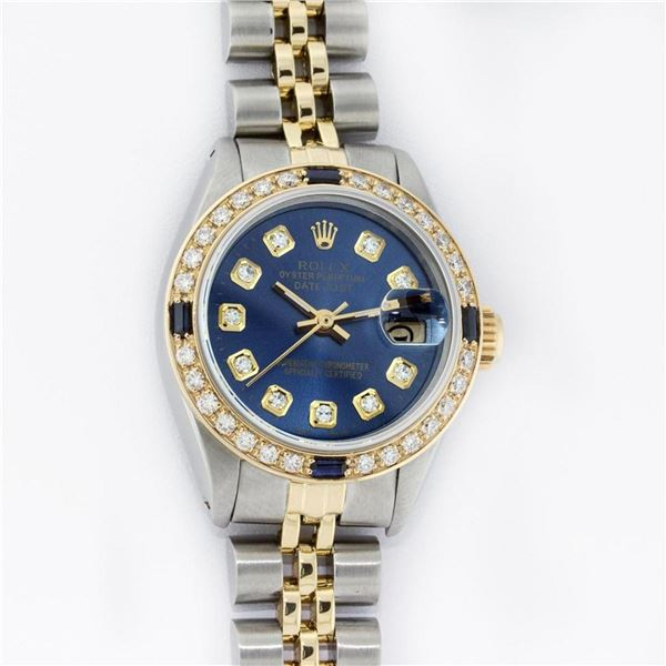 Rolex Ladies 2 Tone YG/SS Blue Diamond & Sapphire Oyster Perpetual Datejust Wris