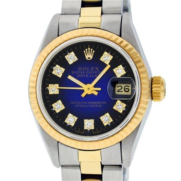 Rolex Ladies 2 Tone Blue Vignette Diamond Datejust Wristwatch