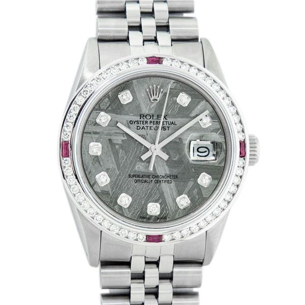 Rolex Mens SS Meteorite Diamond & Ruby Channel Set Oyster Perpetual Datejust Wri