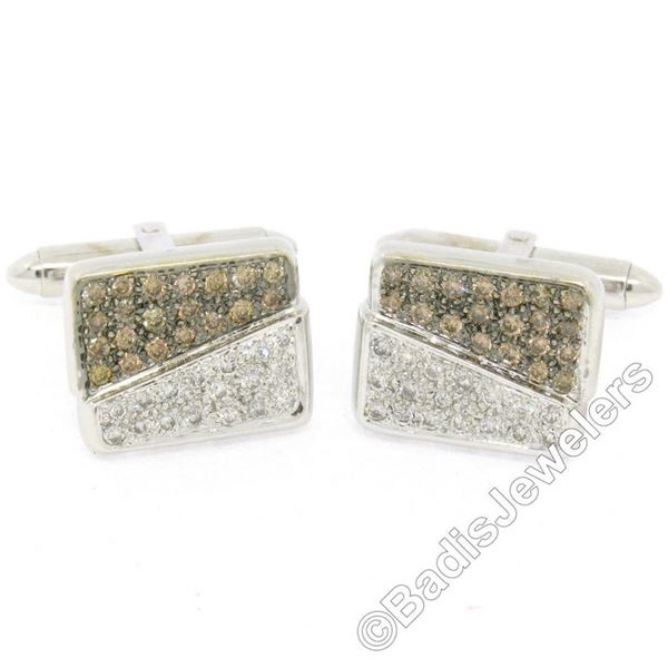 18kt White Gold 1.45 ctw Pave Set Round White & Champagne Diamond Rectangular Cu