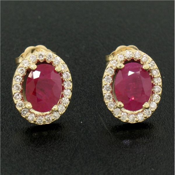 14k Yellow Gold 2.47 ctw Oval Blood Ruby Solitaire Earrings Pave Diamond Halos
