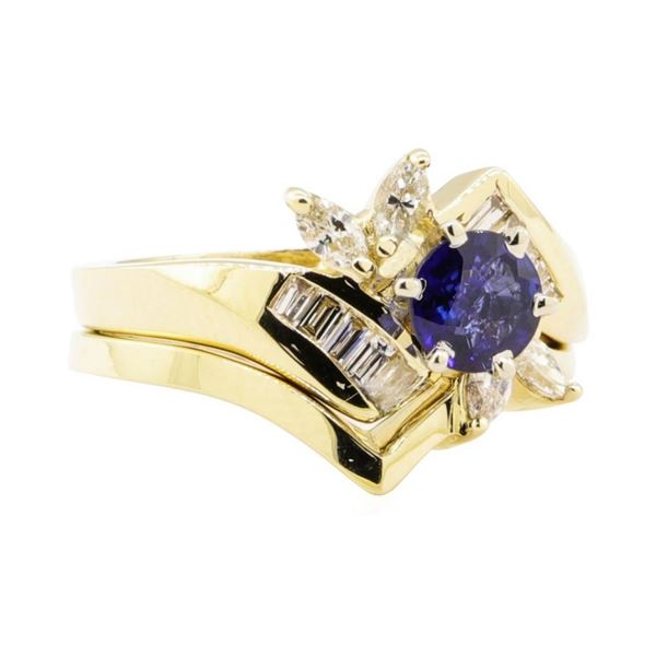 1.24 ctw Blue Sapphire And Diamond Ring And Band - 14KT Yellow Gold