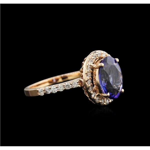 2.07 ctw Tanzanite and Diamond Ring - 14KT Rose Gold