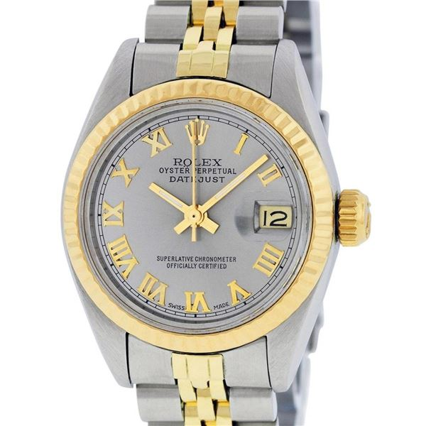 Rolex Ladies 2 Tone Yellow Gold & Stainless Steel Slate Grey Roman Datejust Wris