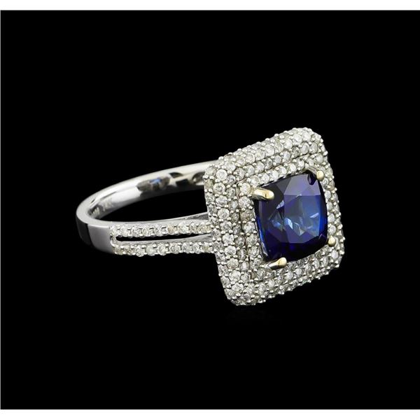 14KT White Gold 2.90 ctw Sapphire and Diamond Ring