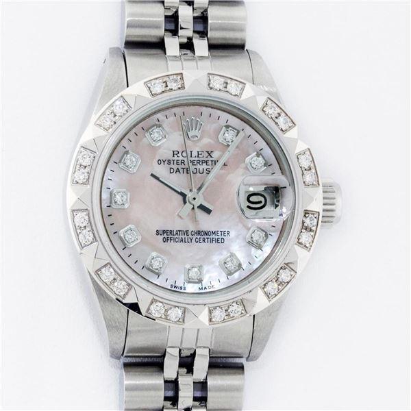Rolex Ladies Stainless Steel Pink MOP Pyramid Diamond Datejust Wristwatch 26MM