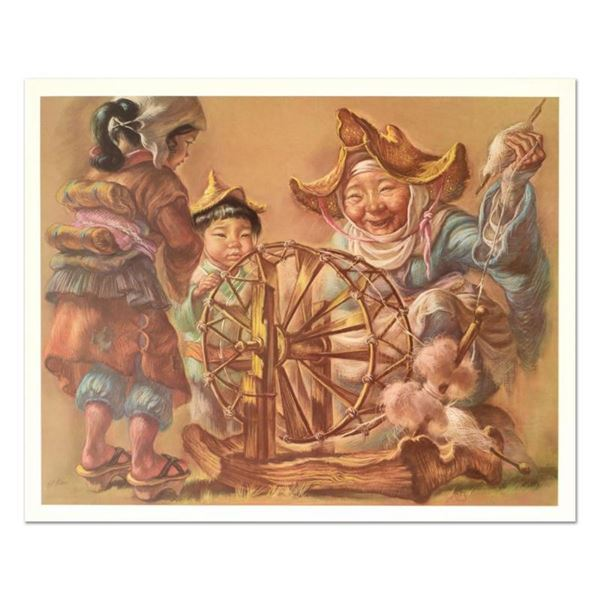 """Virginia Dan (1922-2014), """"Spinning Wheel"""" Limited Edition Lithograph, Numbered"""
