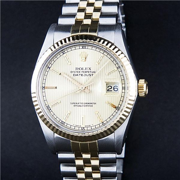Rolex Mens 2 Tone Rare Champagne Tapestry Index 36MM Datejust Wristwatch Oyster
