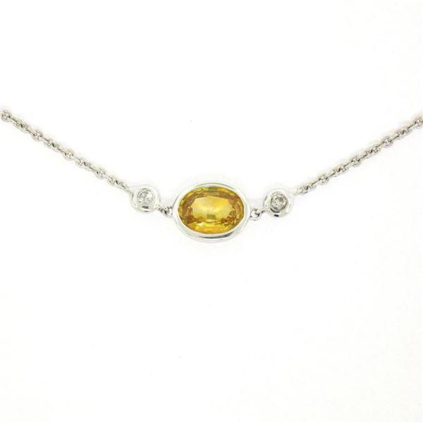 """18K White Gold 18"""" 1.25 ctw GIA Yellow Sapphire & Diamond Pendant Necklace"""