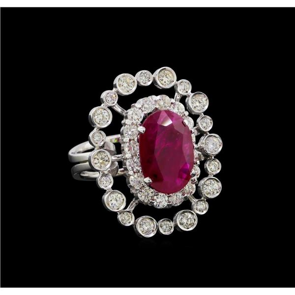 GIA Cert 4.22 ctw Ruby and Diamond Ring - 14KT White Gold