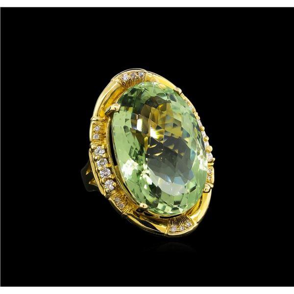 14KT Yellow Gold 27.45 ctw Green Quartz and Diamond Ring