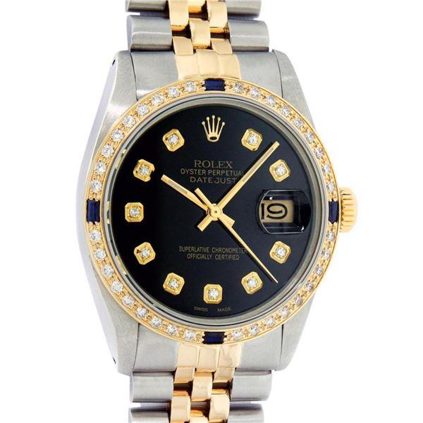 Rolex Mens 2 Tone Black Diamond & Sapphire 36MM Oyster Perpetual Datejust