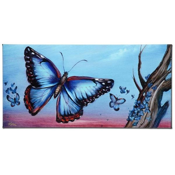 """Morpho Butterflies"" Limited Edition Giclee on Canvas by Martin Katon, Numbered"