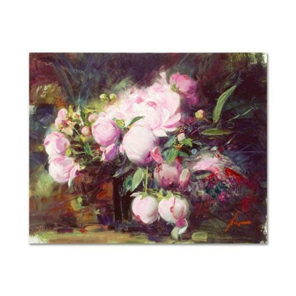 "Pino (1939-2010), ""Peonies"" Artist Embellished Limited Edition on Canvas, AP Num"