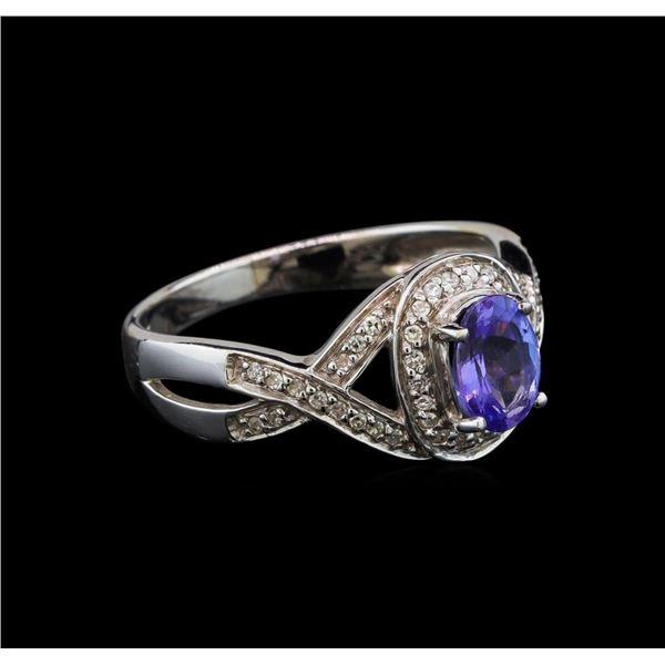 14KT White Gold 0.93 ctw Tanzanite and Diamond Ring