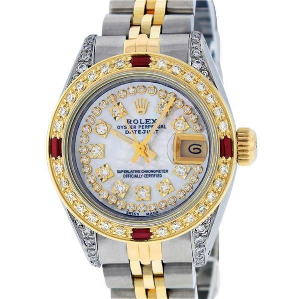 Rolex Ladies 2 Tone Mother Of Pearl String Diamond Lugs & Ruby Datejust Wriswatc