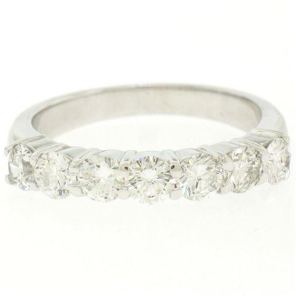 NEW 14K White Gold 1.25 ctw Prong Large Round Brilliant Diamond Wedding Band Rin