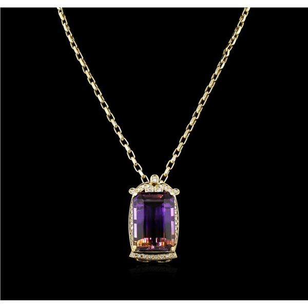 14KT Yellow Gold 73.39 ctw Ametrine & Diamond Pendant with Chain