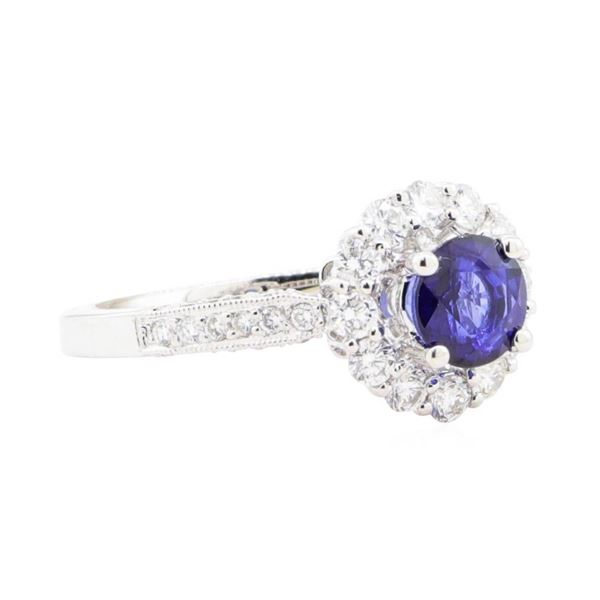 1.81 ctw Sapphire And Diamond Ring - 18KT White Gold