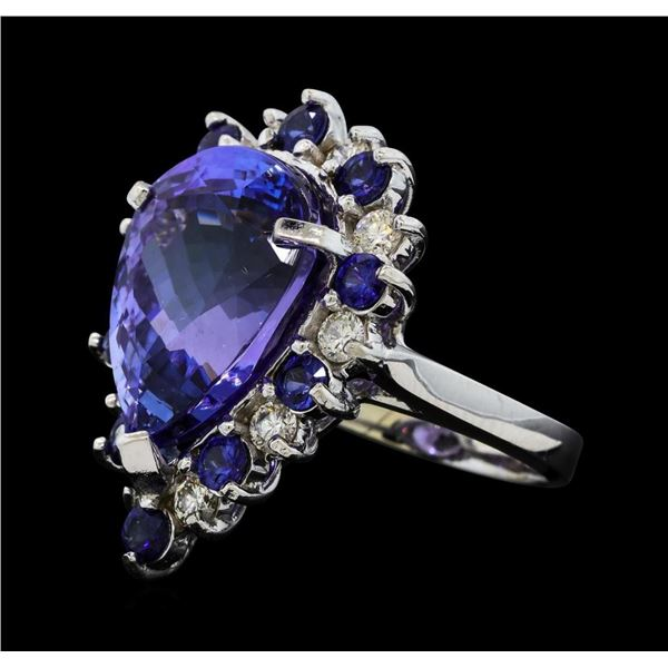 16.06 ctw Tanzanite, Sapphire and Diamond Ring - 14KT White Gold